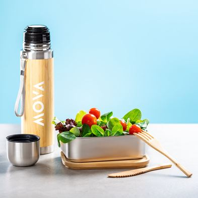 Bamboo Lunch Box, cutlery, thermos